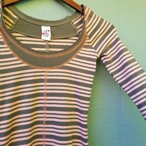Free People Thermal Striped Scoop XS Thumb Holes
